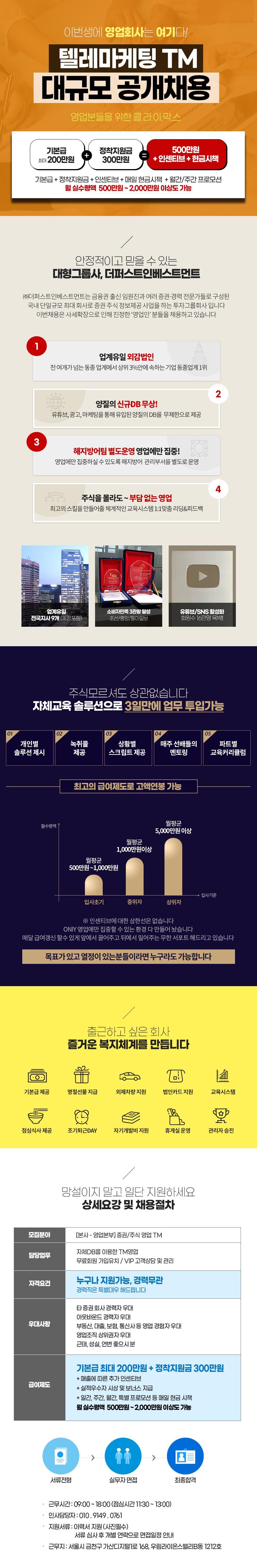 ㈜더퍼스트인베스트먼트 [월4,000만원이상가능] 증권/주식영업TM-매일현금시상/중식제공/업계최고우대